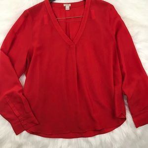 J. Crew Red V Neck Pleated Front Blouse